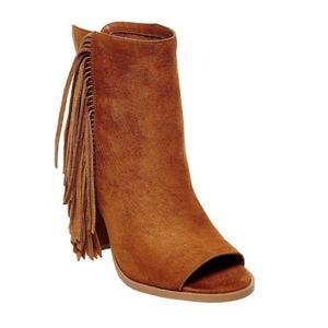 DV - Suede fringe open toe booties